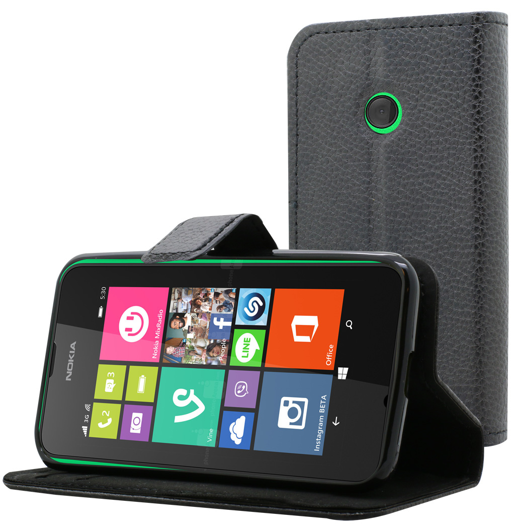 Etui Folio Everglade noir Articulé pour Nokia Lumia 530