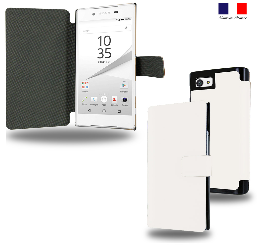 Housse Etui portefeuille blanc Sony Xperia Z5 Compact