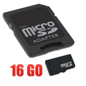 acheter Micro SDHC 16 Go avec adaptateur SD