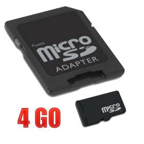 acheter Micro SDHC 4 Go avec adaptateur SD