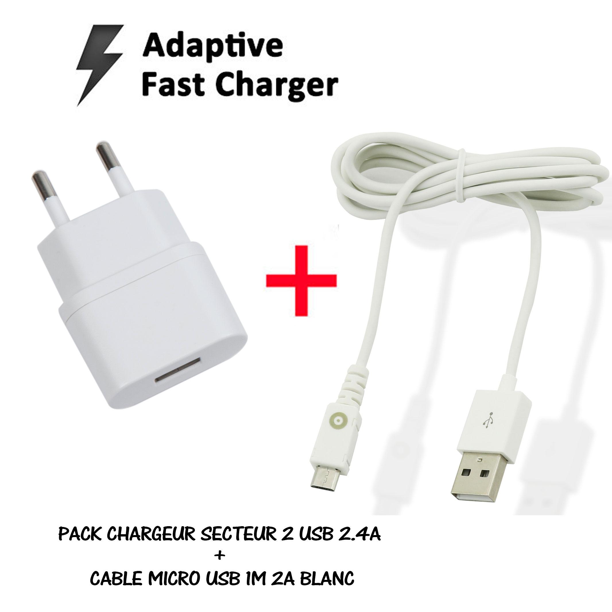 acheter  PACK CHARGEUR SECTEUR 2 USB 2.4A + CABLE MICRO USB 1M 2A BLANC