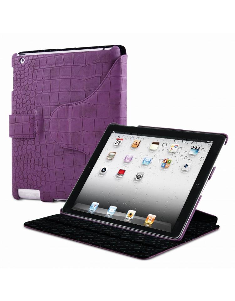Housse portfolio croco violette pour ipad 2 3 for Housse pour ipad 3
