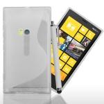 Silicone Nokia Lumia 920 Blanc S-Line + Stylet Blanc