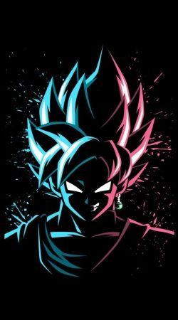 Black Goku Face Art Blue and pink hair