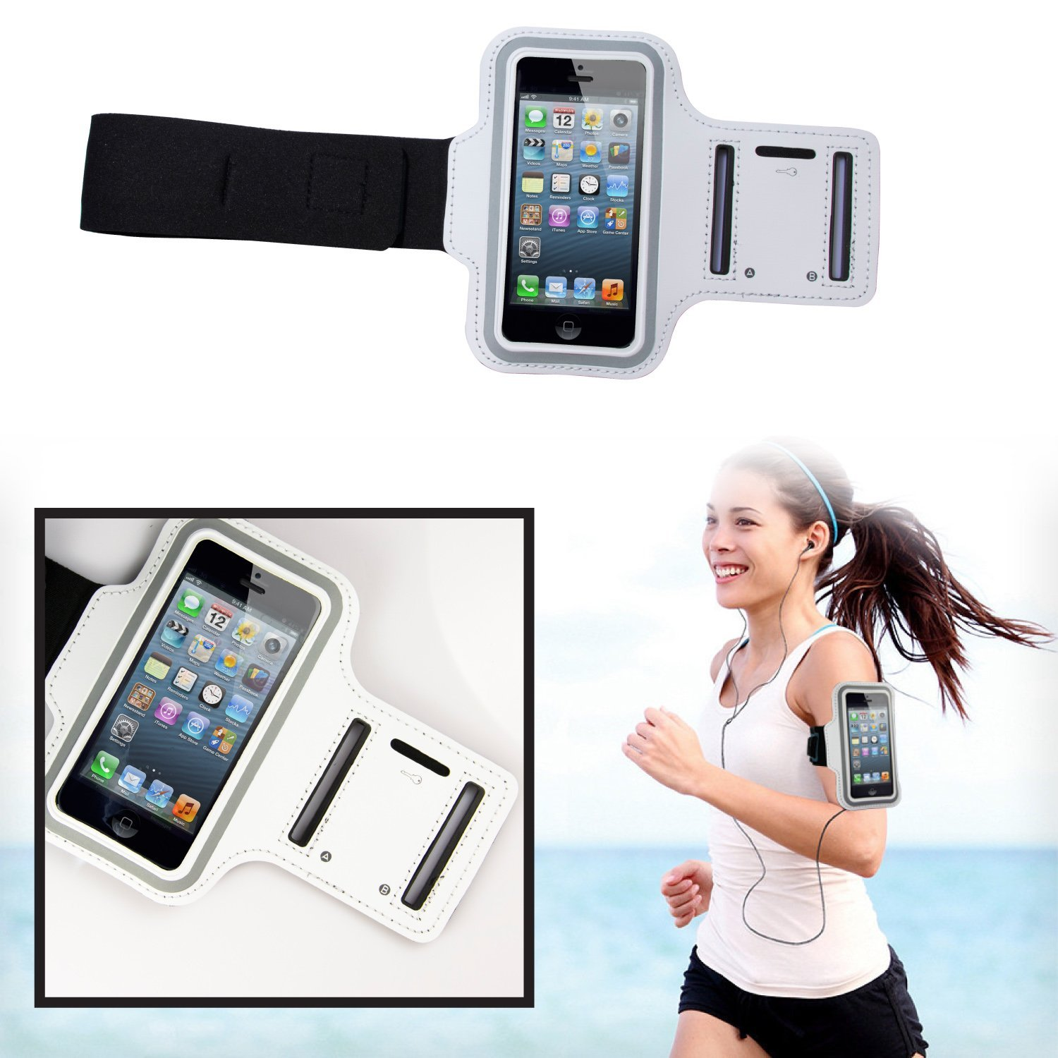 Sport Armband for Jogging / Gymnastics / Sport - White