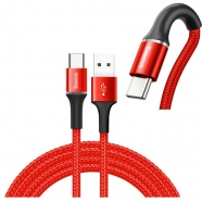 Data Cable Durable Nylon Braided Wire USB / USB-C with LED Light 2A 2M red