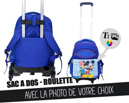 Child's blue backpack with cart trolley to customize