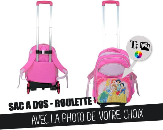 Pink backpack for children with cart trolley to customize
