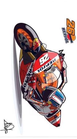 Dani Pedrosa Moto GP Cartoon Art