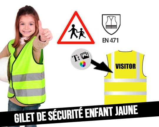 Neon yellow safety vest for child