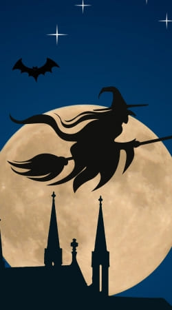 Halloween Moon Background Witch