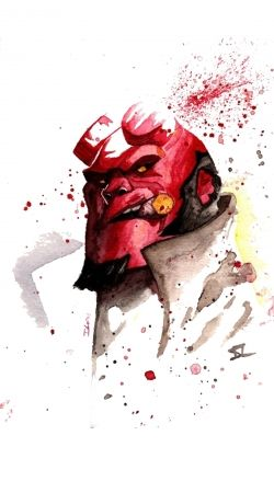 Hellboy Watercolor Art