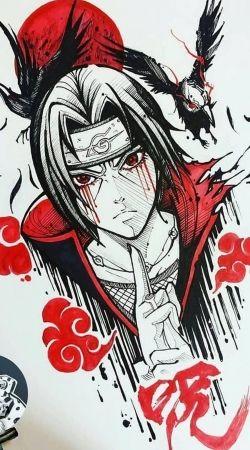 Itachi Blood Eyes Raven Akatsuki