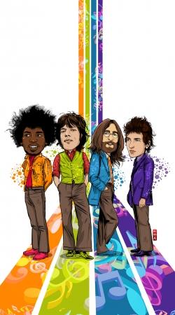 Artwork Music Legends: Lennon, Jagger, Dylan & Hendrix do Samsung Galaxy Young S6310