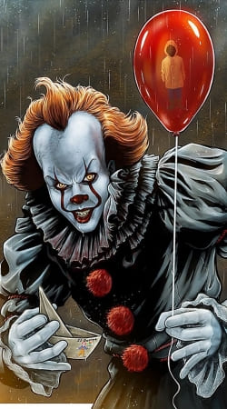 Pennywise Ca Clown Red Ballon