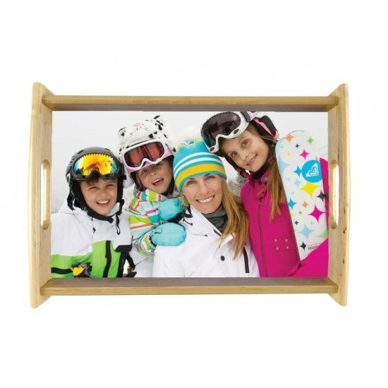 Customizable wooden lunch tray with photo