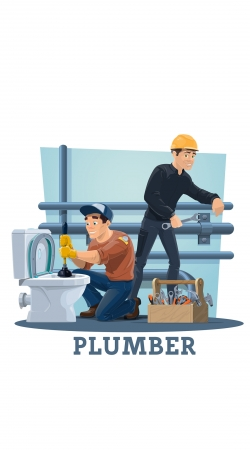 Plumbers with work tools