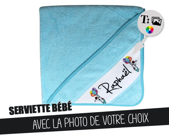 Blue bath cape - Customizable baby towel