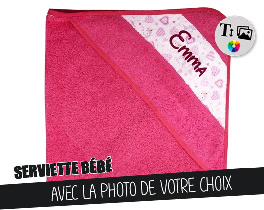 Pink bath cape - Customizable baby towel