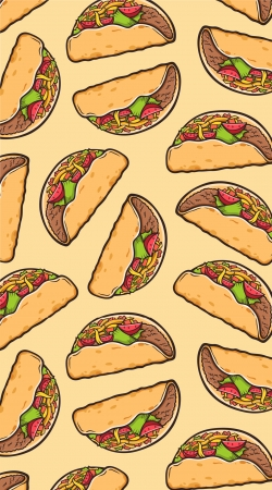 Taco seamless pattern mexican food
