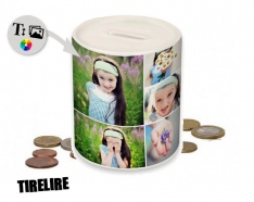 Piggy bank to personalize with photos