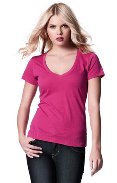 Women's Deep V-neck Shirt Pink